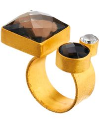 Kasturjewels Adjustable Brass Plated 22kt Gold Statement Ring with Semiprecious Stone - Metallic