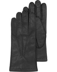 Moreschi - Black Deerskin Leather Mens Gloves Wcashmere Lining - Lyst