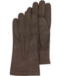 Moreschi - Dark Brown Deerskin Leather Mens Gloves Wcashmere Lining - Lyst
