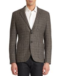 Saks Fifth Avenue Black Label - Elbow Patch Houndstooth Wool Blazer - Lyst