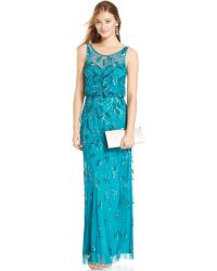 Adrianna Papell Embellished Floral Blouson Gown - Lyst