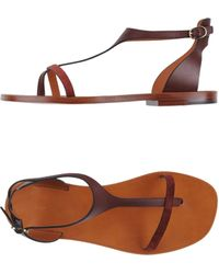 Celine Brown Flip Flops - Lyst