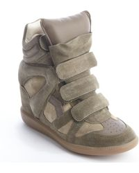 Isabel Marant Forest Green Suede High Top Wedge Sneakers - Lyst