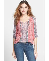 Lucky Brand Big Sur Mixed Print Peasant Top - Lyst