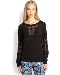Pjk Patterson J. Kincaid - Spectra Floralembroidered Sheerpaneled Sweatshirt - Lyst
