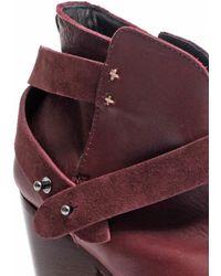 Rag & Bone Harrow Leather Suede Ankle Boots - Purple