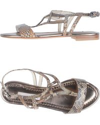 Schumacher - Silver Flat Sandals - Lyst
