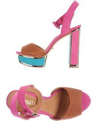 Schutz Brown Platform Sandals - Lyst