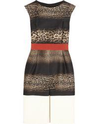 Giambattista Valli Leopard Print Wool and Silk Blend Dress - Lyst