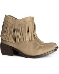 H&M Beige Suede Boots - Lyst