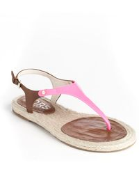 Kors By Michael Kors Stephy Leather Tstrap Sandals - Lyst