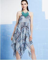 Blue and white handkerchief dress