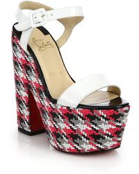 Christian Louboutin Bella Woven Leather Platform Sandals - Lyst