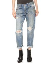 Nsf Clothing Beck Destroyed Boyfriend Jeans Beduoin - Lyst
