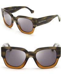 Balenciaga Brown Wayfarer Sunglasses - Lyst