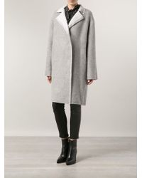 Lanvin Grey Mohair Wool Coat - Lyst