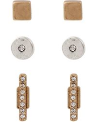 Kenneth Cole Mixed Metal Circle And Stick Stud Earring Set - Metallic