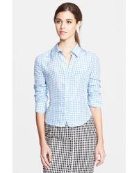 Altuzarra 'Volpone' Ruched Sleeve Gingham Shirt - Lyst