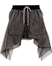 Rick Owens Flounced Shorts in Dark Dust Tulle - Lyst