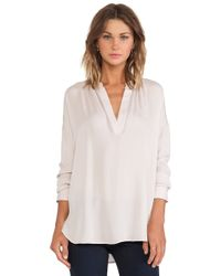 Vince Long Sleeve Popover Blouse - Lyst