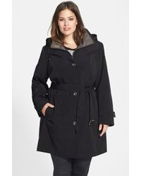 Gallery Two-Tone Belted Raincoat With Detachable Hood & Liner - Lyst