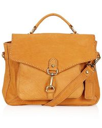 Topshop Leather Buckle Satchel  brown - Lyst