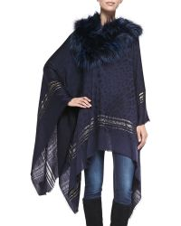 Roberto Cavalli Woven Poncho with Fur Collar - Lyst