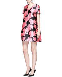 Lanvin   Floral Jacquard Duchesse Satin Dress   Lyst