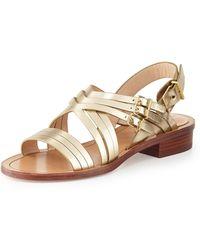 Pour La Victoire Strappy Metallic Flat Sandal - Lyst