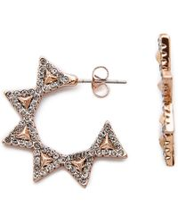 House of Harlow 1960 - Geodesic Triangle Mini Hoop Earrings - Rose Gold - Lyst