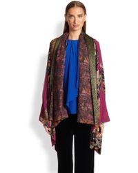 Etro Printed Wool & Silk Cape - Lyst