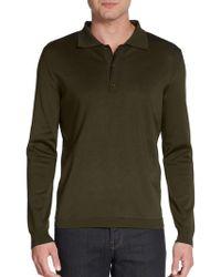 Burberry Prorsum Knit Long-sleeve Polo Shirt - Lyst