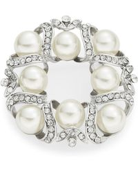 R.j. Graziano Faux Pearl And Crystal Wreath Brooch - White