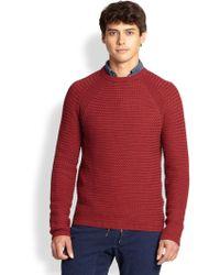 Madison Supply Cotton Basket Weave Sweater - Lyst