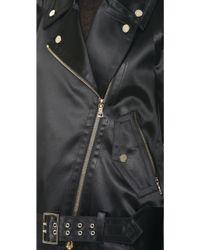 Jason Wu Bonded Satin Motorcycle Jacket - Black
