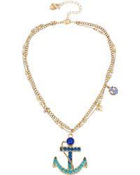 Betsey Johnson Goldtone Blue Crystal Anchor Pendant Necklace - Lyst