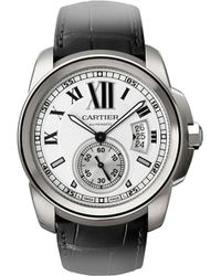 Cartier Calibre De Stainless Steel And Leather Watch - For Men silver - Lyst