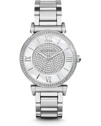 Michael Kors Caitlin Stainless Steel & Mother-Of-Pearl Glitz Bracelet Watch - Lyst