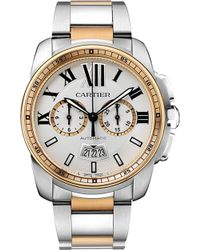 Cartier Calibre De 18ct Pink-gold and Stainless Steel Watch - Lyst