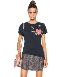 Carven Embroidered Heart Cotton Tee - Lyst