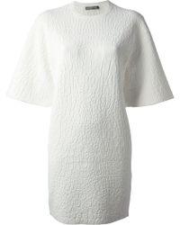 Alexander McQueen Embossed Patterned Dress white - Lyst