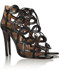 Aquazzura Olivia Palermo Cutout Leather Sandals - Lyst