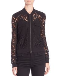 BCBGMAXAZRIA   Lace Long-sleeve Zip-up Top   Lyst