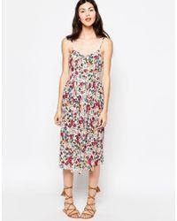 Monki Floral Print Festival Pleated Midi Dress - Multicolor