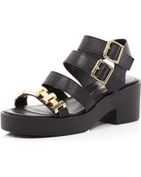 River Island Black Strappy Gold Detail Sandals - Lyst