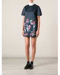 MSGM Flower Embroidered Boxy Dress - Lyst
