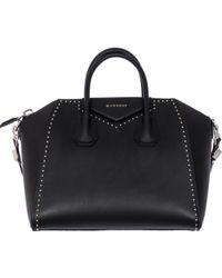 "Givenchy Black Studded Leather Medium ""Antigona"" Bag black - Lyst"