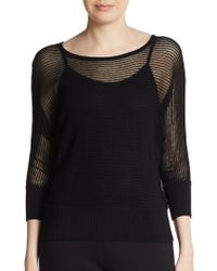 Eileen Fisher Sheer Knit Boatneck Top - Lyst