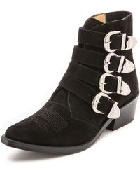 Toga Pulla Buckled Suede Booties Khaki - Lyst