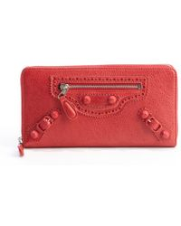 Balenciaga Coquelicot Red Leather Arena Continental Wallet - Lyst